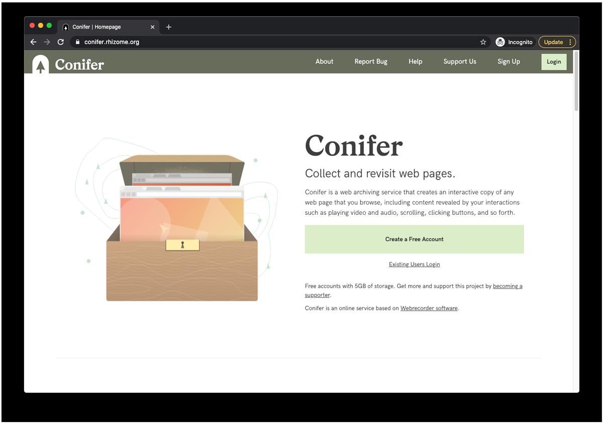 Conifer homepage